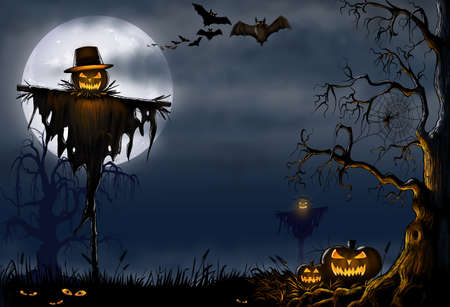 Halloween Scarecrow with pumpkins Digital illustration.