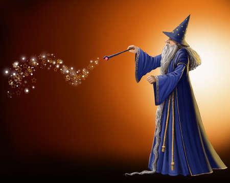 mago merlin: Asistente agitando su varita mágica. Foto de archivo
