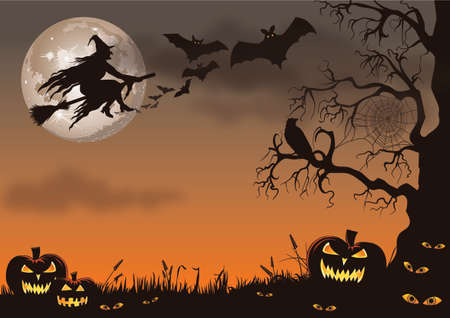 Halloween scene with a witch, bats, pumpkins and a creepy tree.
