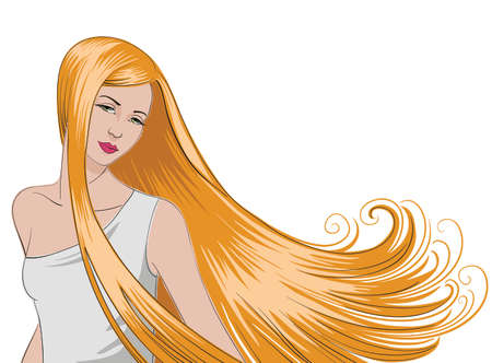 Girl with long, flowing, blonde hair. Stock Illustratie