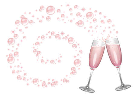 champagne glasses: Pink champagne flutes clinking with a swirl of bubbles and sparkles.
