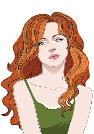 Girl with wavy red hair and fair freckly skin. Stock Illustratie