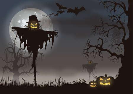 Espantapájaros mal escena de Halloween con calabazas.
