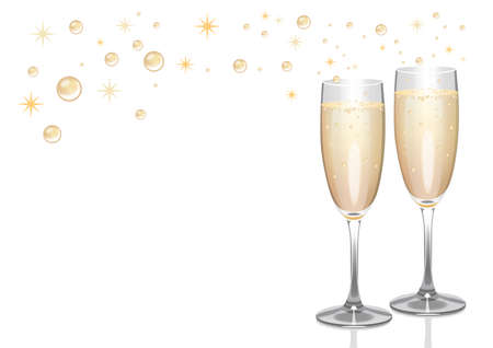 Pair of champagne flutes with bubbles and sparkles.