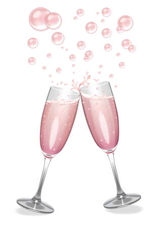 clinking: Pink Champagne flutes clinking with an explosion of bubbles.