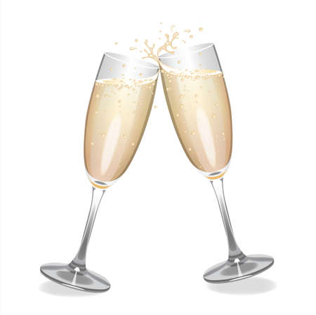 Champagne glasses clinking together.
