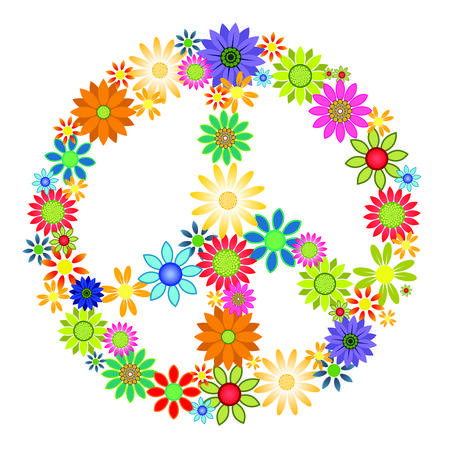 Colourful flowers forming the shape of a peace symbol. Çizim