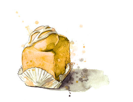 fench: Yellow iced cream cake watercolour