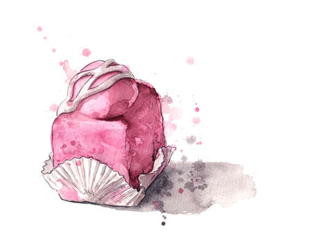 Pink iced cream cake watercolour Stok Fotoğraf - 61114155