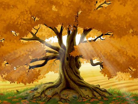 Autumn oak tree digital illustration