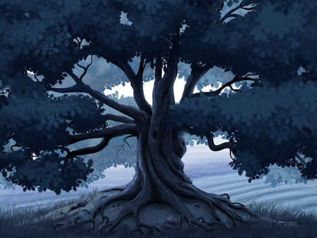 Oak tree in the moonlight digital illustration