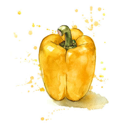 Hand painted yellow pepper.