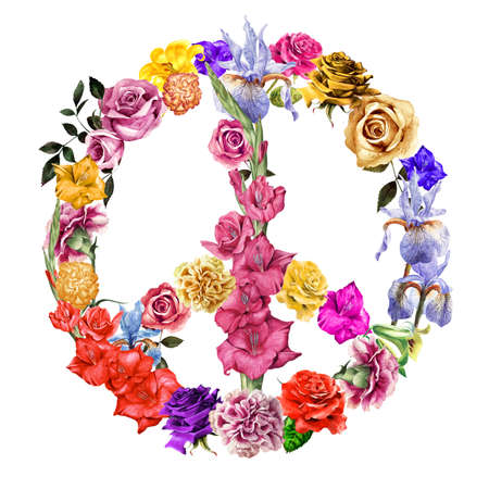 anti war: Hand painted flowers arrange in the shape of a peace symbol.