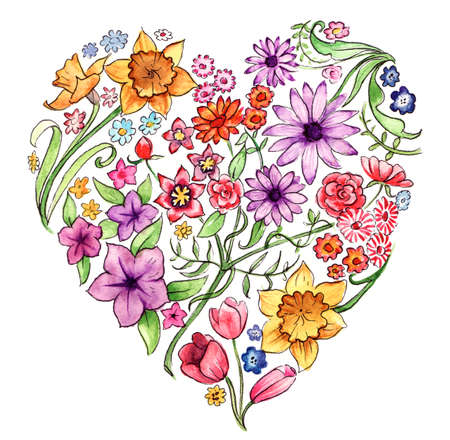 Colourful floral heart, hand painted with watercolours