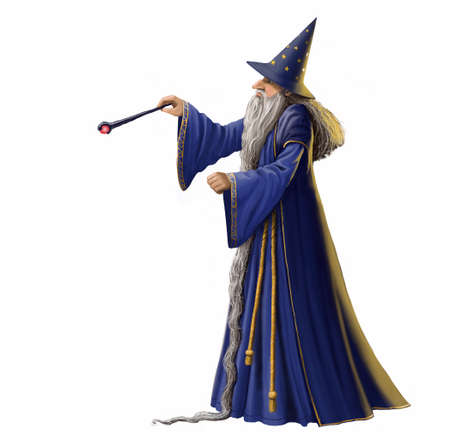 Wizard and magic wand isolated on white.