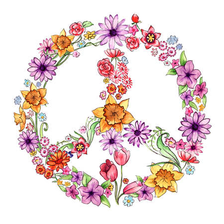 Peace Flowers, hand painted with watercolours.