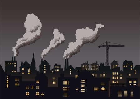 pollutants: Grey industrial town.