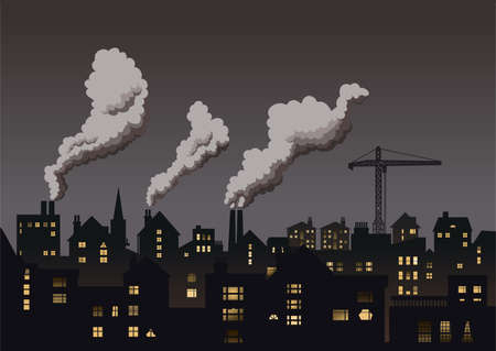 Grey industrial town.