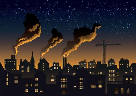 Polluted, industrial town skyline.