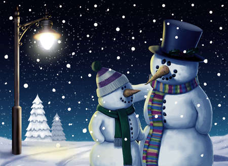 Snowman Friends Christmas Illustration Stok Fotoğraf