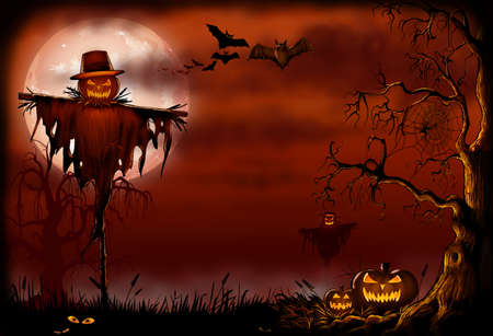 Halloween Scarecrow Digital Illustration Stok Fotoğraf