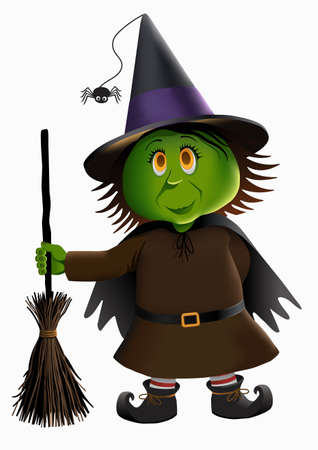 Little green witch isolated on a plain background.