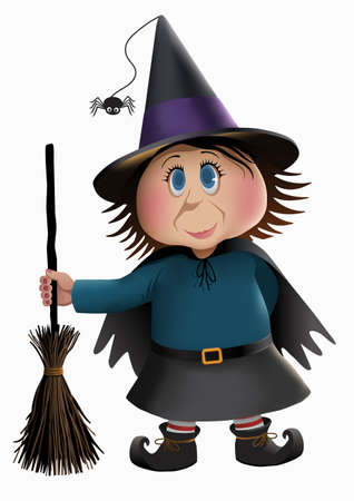 Little witch character isolated on a plain background. Çizim