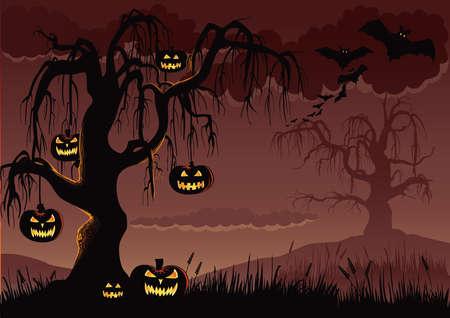 Halloween Pumpkin Tree Stok Fotoğraf - 63507045