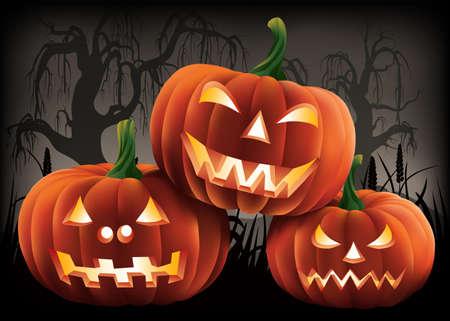 Scary Halloween Pumpkins Ilustração