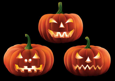 Three Halloween Pumpkins Isolated.