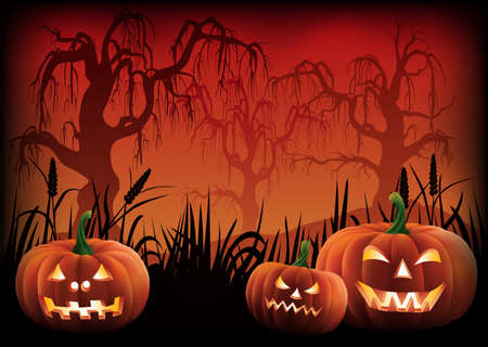 Carved pumpkins at the footer of a creepy Halloween background.