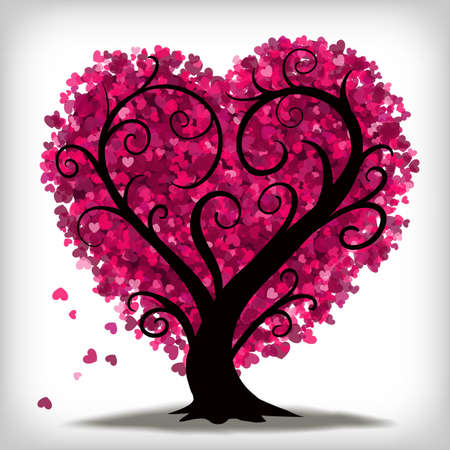 Heart shaped tree with little pink hearts as leaves.