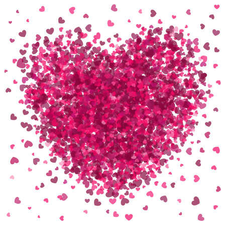A burst of little pink hearts forming a big heart.