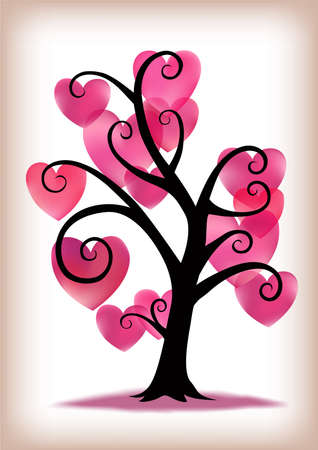 A swirly tree with pink hearts.