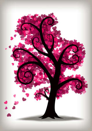 A swirly tree with lots of little pink hearts for leaves. Çizim