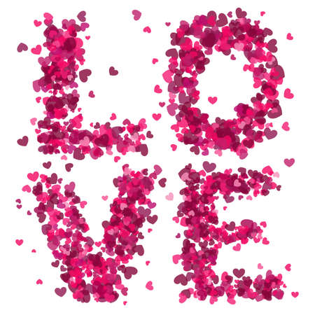 The word LOVE made from lots of little pink hearts.