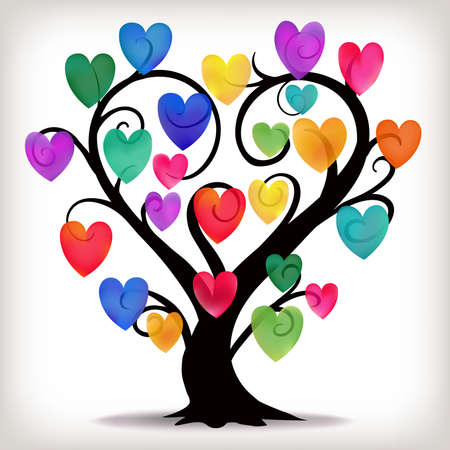 A heart shaped tree with multi coloured hearts.