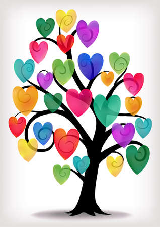 A curly tree with multi coloured hearts.