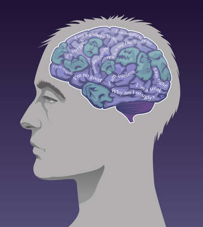 Mans brain depicting negative ego thoughts.