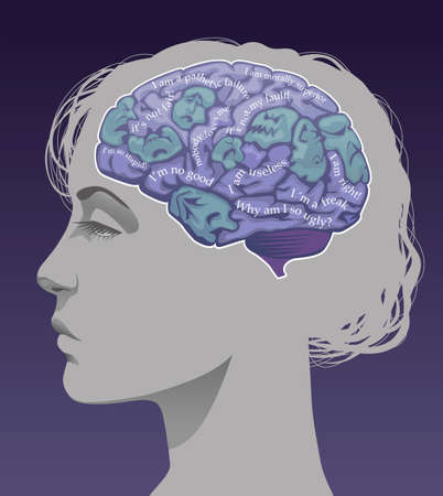 Womans brain depicting negative ego thoughts.