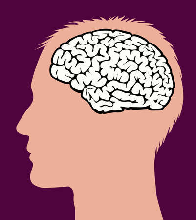Side profile of a man with a brain diagram.