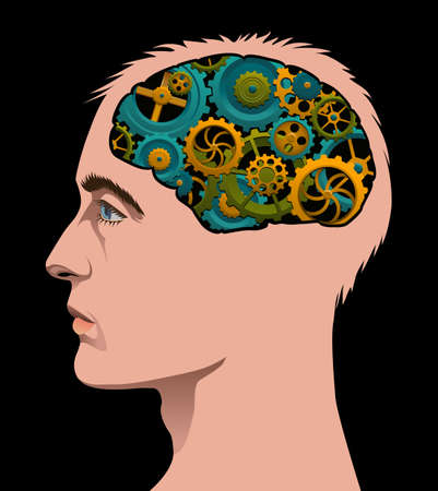 turning: Man with cogs turning in her brain. Illustration