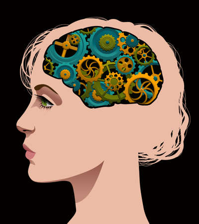 Woman with cogs turning in her brain.