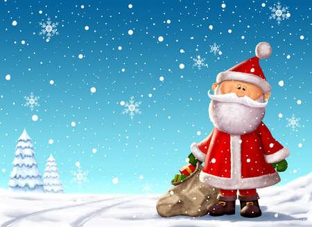 Santa and a Sack of Toys Christmas Illustration Stok Fotoğraf