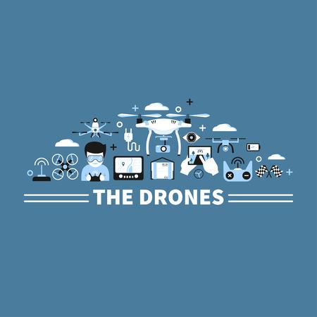 Concepto gráfico con aviones no tripulados, controles remotos y otros elementos. Diseño moderno, elementos planos. Ilustración para publicidad, pancartas; diseño web, broshures, etc. Foto de archivo - 66006988