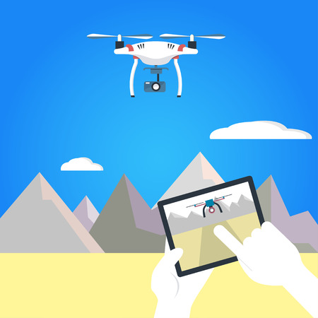 hovering: illustration of quadruplicate and operators hands holding remote control. Air RC drone hovering above the mountains and  desert. Flat design. Isolated background.