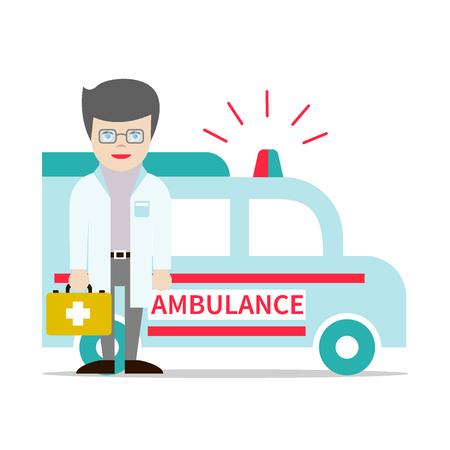Jonge aantrekkelijke arts die in glazen EHBO-kit en de ambulance auto.