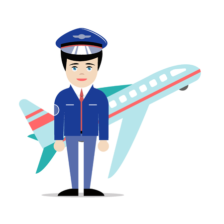 Young cute male pilot in hat and suit standing in front of flying airplane. Illustration