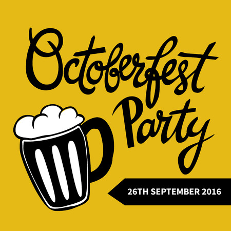 oktober: Hand-written typography poster with quote Octoberfest Party and hand-drawn mug of beer. Yellow-black design.