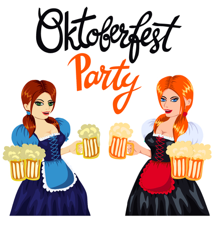 Young pretty girls in bavarian costume with mugs of beer. Hand lettering quote Oktoberfest Party.